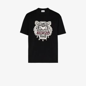Kenzo Mens Black Tiger Embroidered Cotton T-shirt