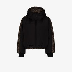 Fendi Womens Black Reversible Ff Motif Puffer Jacket