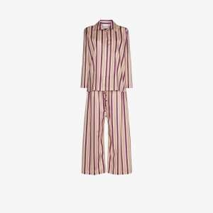 Pour Les Femmes Womens Purple Multi Stripe Cotton Pyjamas