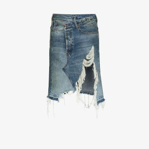 R13 Womens Blue Norbury Denim Midi Skirt