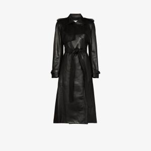 Alexander Mcqueen Womens Black Belted Leather Trench Coat
