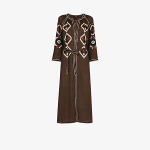 Vita Kin Womens Brown Belted Embroidered Midi Dress