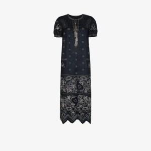 Vita Kin Womens Blue Embroidered Linen Dress