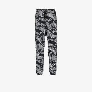 Moschino Mens Black Logo Print Track Pants