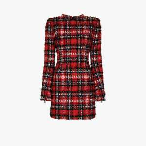 Balmain Womens Red Tartan Tweed Mini Dress