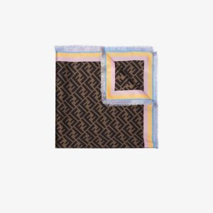 Fendi Womens Brown Two-sided Square Foulard
