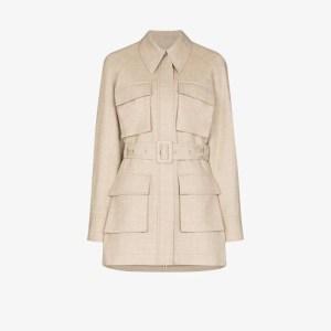 Low Classic Womens Brown Multi-pocket Wool Jacket