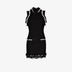 Balmain Womens Black Sequin Tweed Dress