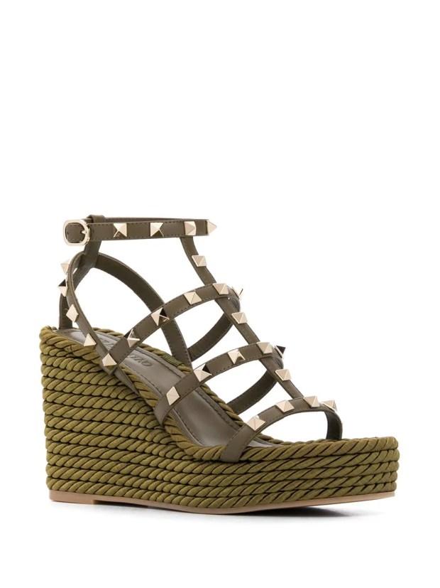 Image 2 of Valentino Garavani Rockstud rope wedge sandals