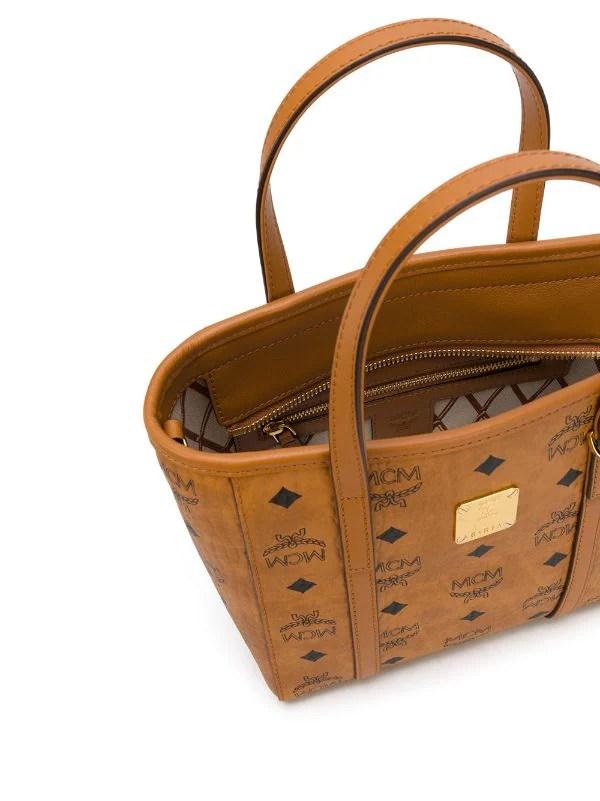 brown mcm small logo print tote bag