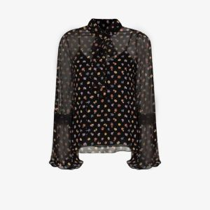 See By Chloé Womens Black Floral Print Pussybow Blouse