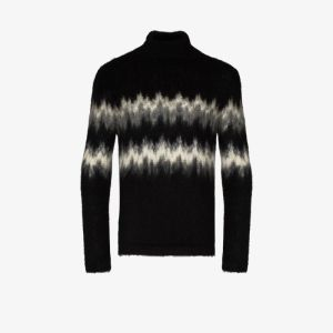 Saint Laurent Mens Black Abstract Stripe Mohair Wool Sweater