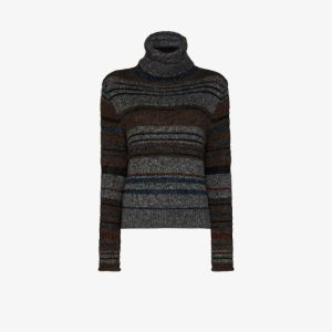 See By Chloé Womens Brown Turtle Neck Striped Knit Sweater