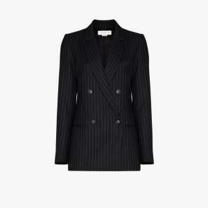 Victoria Beckham Womens Blue Pinstripe Pattern Double-breasted Blazer Jacket