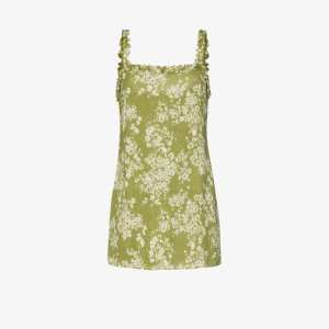 Reformation Womens Green Eletta Floral Print Mini Dress