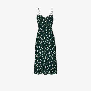 Reformation Womens Green Juliette Printed Midi Dress