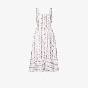 Reformation Womens White Manet Ruffled Floral-print Linen Midi Dress