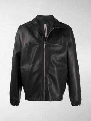 Rick Owens elastic-trimmed leather jacket