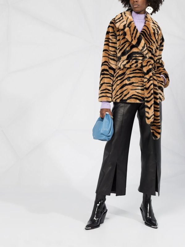 Image 2 of STAND STUDIO tiger print faux-fur coat