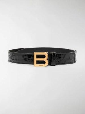 Balenciaga crocodile effect Hourglass buckle belt