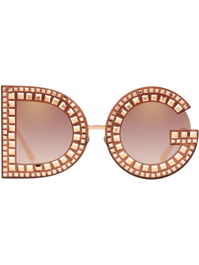 Image 1 of Dolce & Gabbana Eyewear DG Glitter round-frame sunglasses