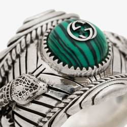 a3e63c20b08 Gucci Garden Sterling Silver Plated Brass Logo Ring Rings Browns