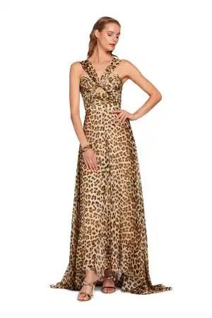 Abito lungo in seta con stampa Leopard