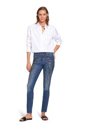 Jeans skinny con cristalli