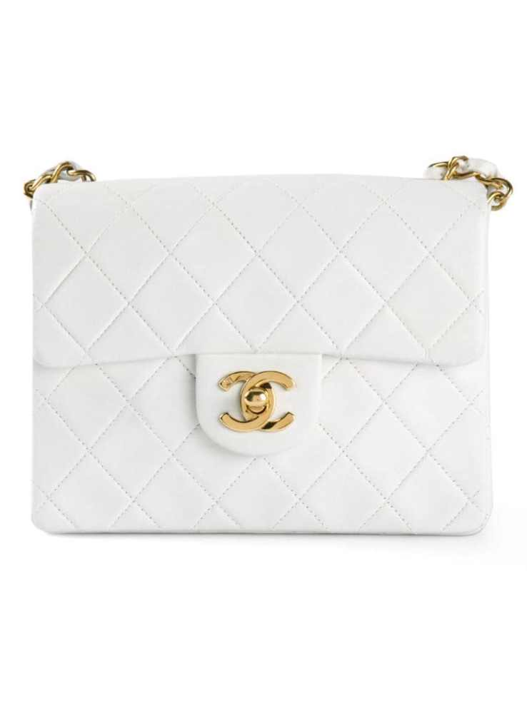 CHANEL VINTAGE white mini half flap bag