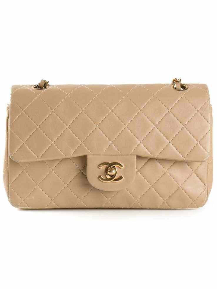 CHANEL VINTAGE beige medium double flap bag