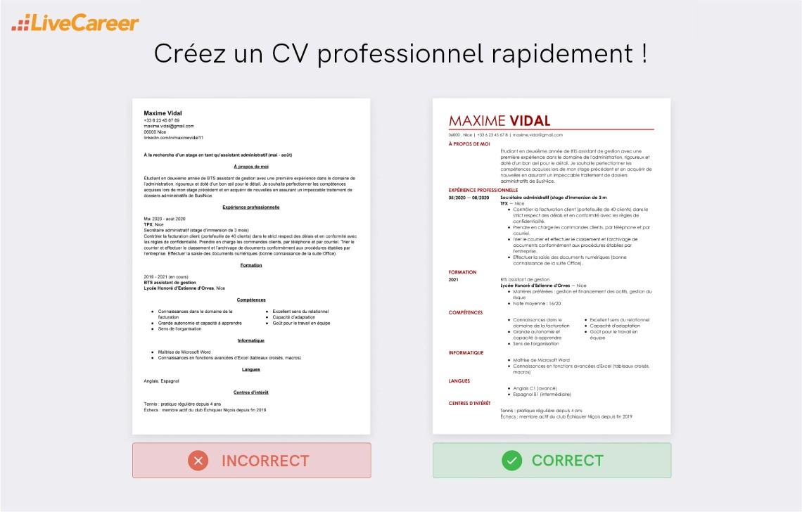 Cv Stage Exemple De Cv Pour Un Stagiaire Etudiant