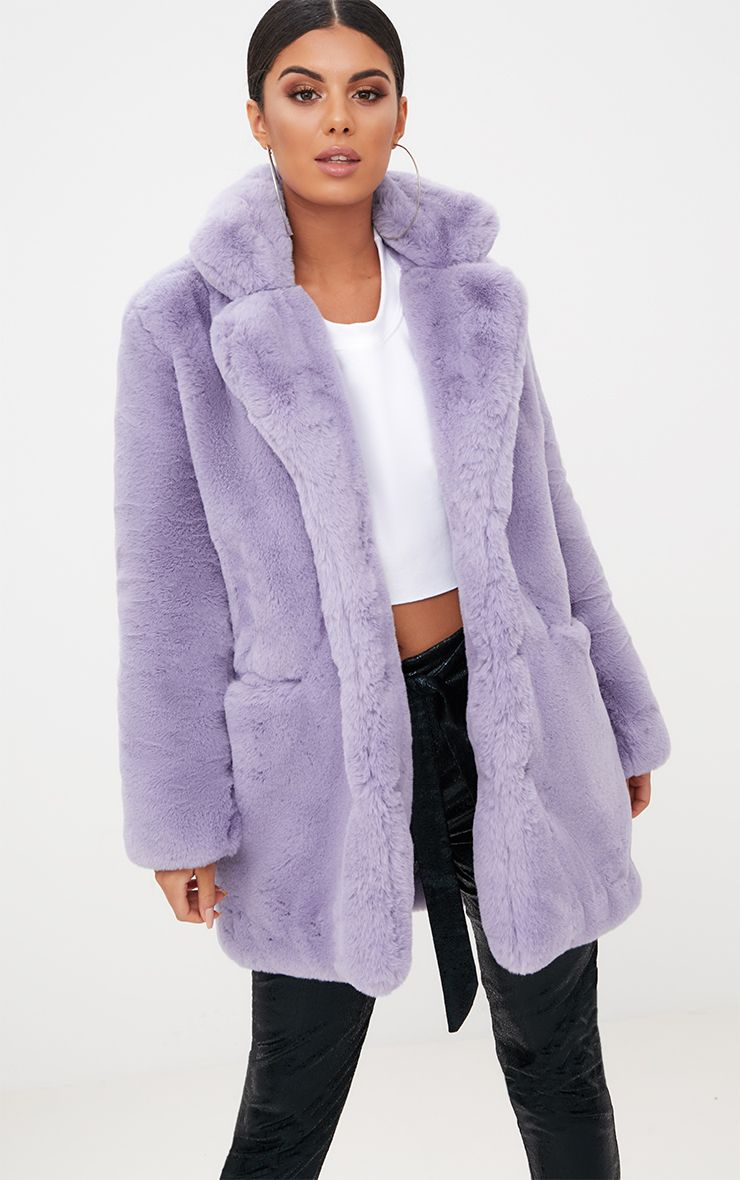 Lilac Premium Faux Fur Coat