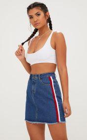 Dark Wash Sports Stripe Denim Skirt