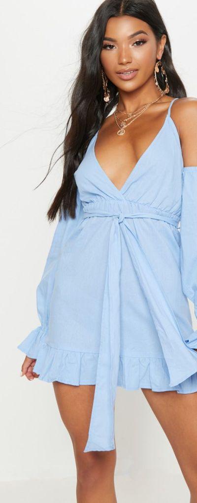 Blue Frill Detail Tie Waist Shift Dress