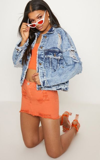 Acid Wash Distressed Cropped Denim jacket