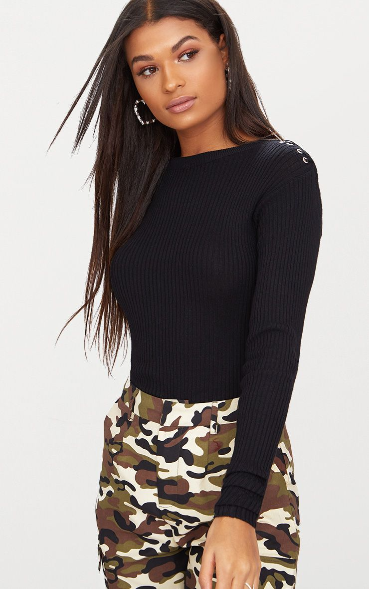 BLACK CROPPED JUMPER FLARE SLEEVES