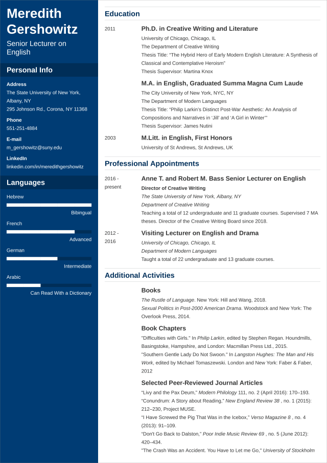 Academic CV Template—Examples, and 13+ Writing Tips
