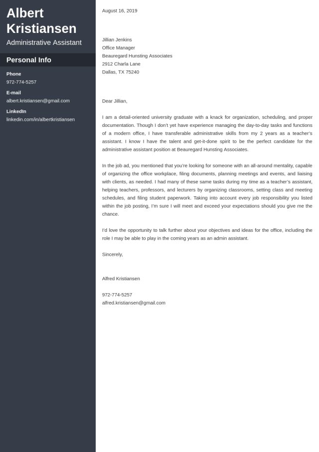Administrative Assistant Cover Letter: Sample & Ready Templates