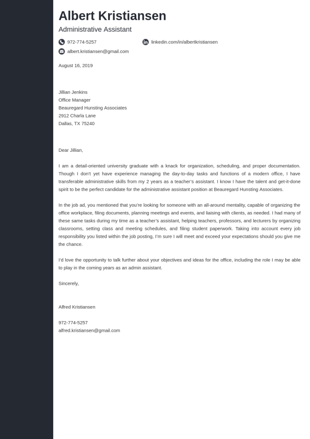 Administrative Assistant Cover Letter: Examples & Ready Templates