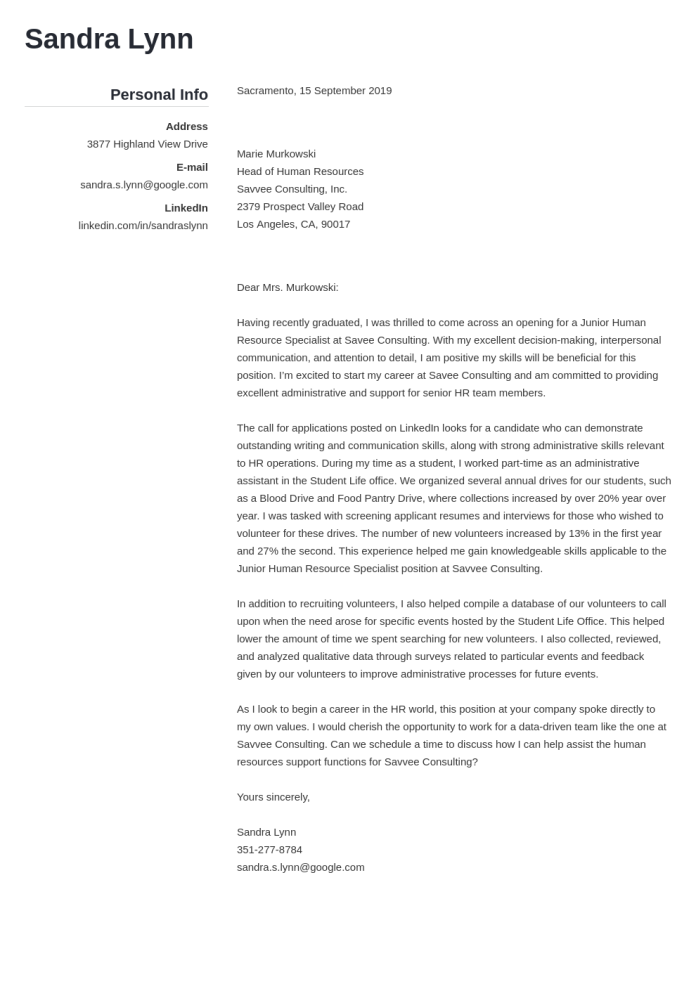 Human Resources Cover Letter Examples Ready To Use Templates