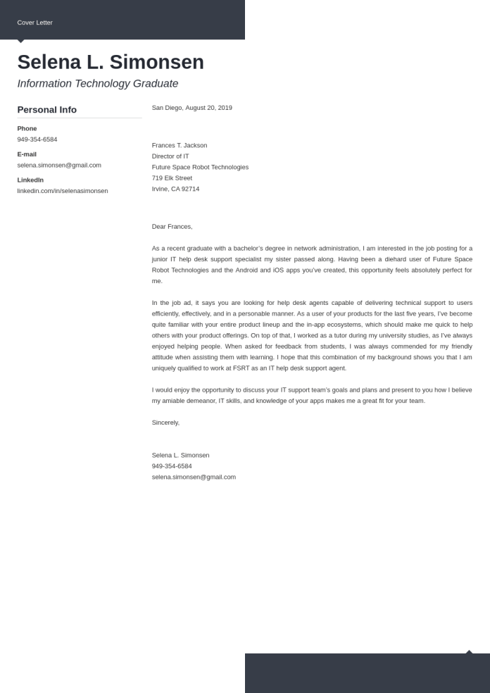 It Help Desk Cover Letter Examples Ready To Use Templates