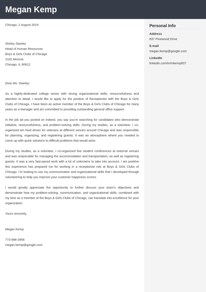 Receptionist Cover Letter Examples Ready To Use Templates