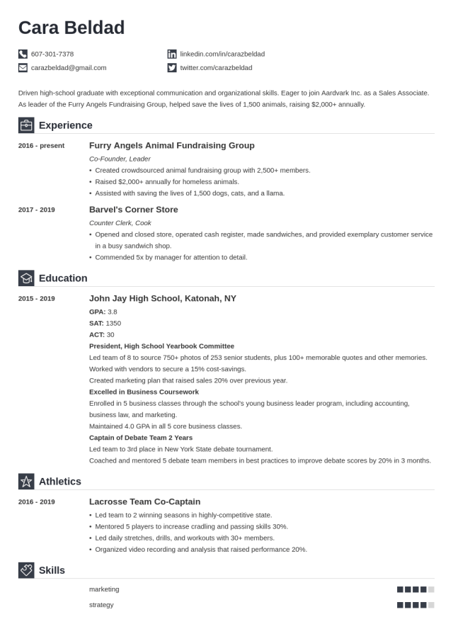 High School Graduate Resume Example (+With No Experience)
