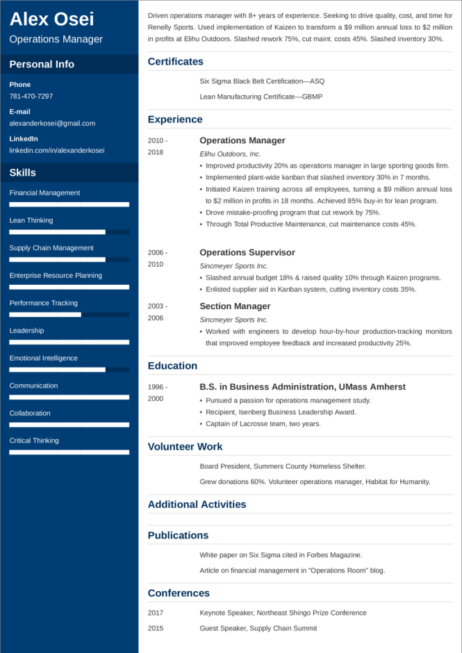 Operations Manager Resume Sample 25