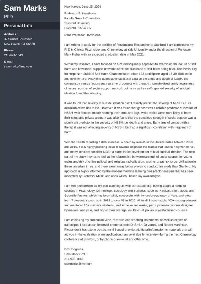 Postdoc Cover Letter: Samples & Templates to Fill