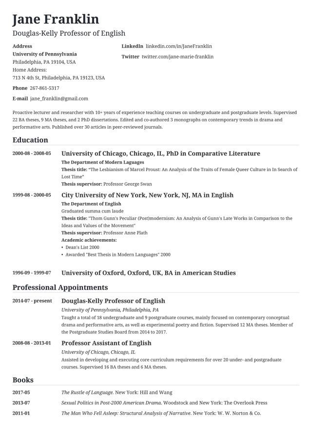 30+ CV Examples: a Curriculum Vitae for Any Job Application