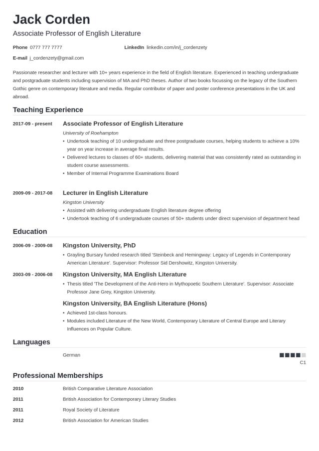 Academic (CV) Curriculum Vitae: Template, Examples & Guide