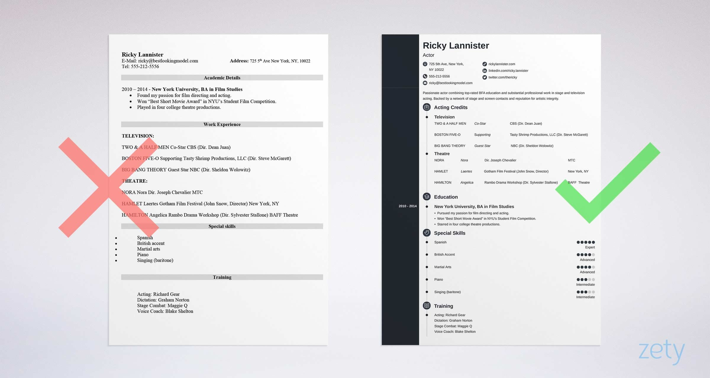 Acting Resume Template Sample Amp Actor Resume Advice 20