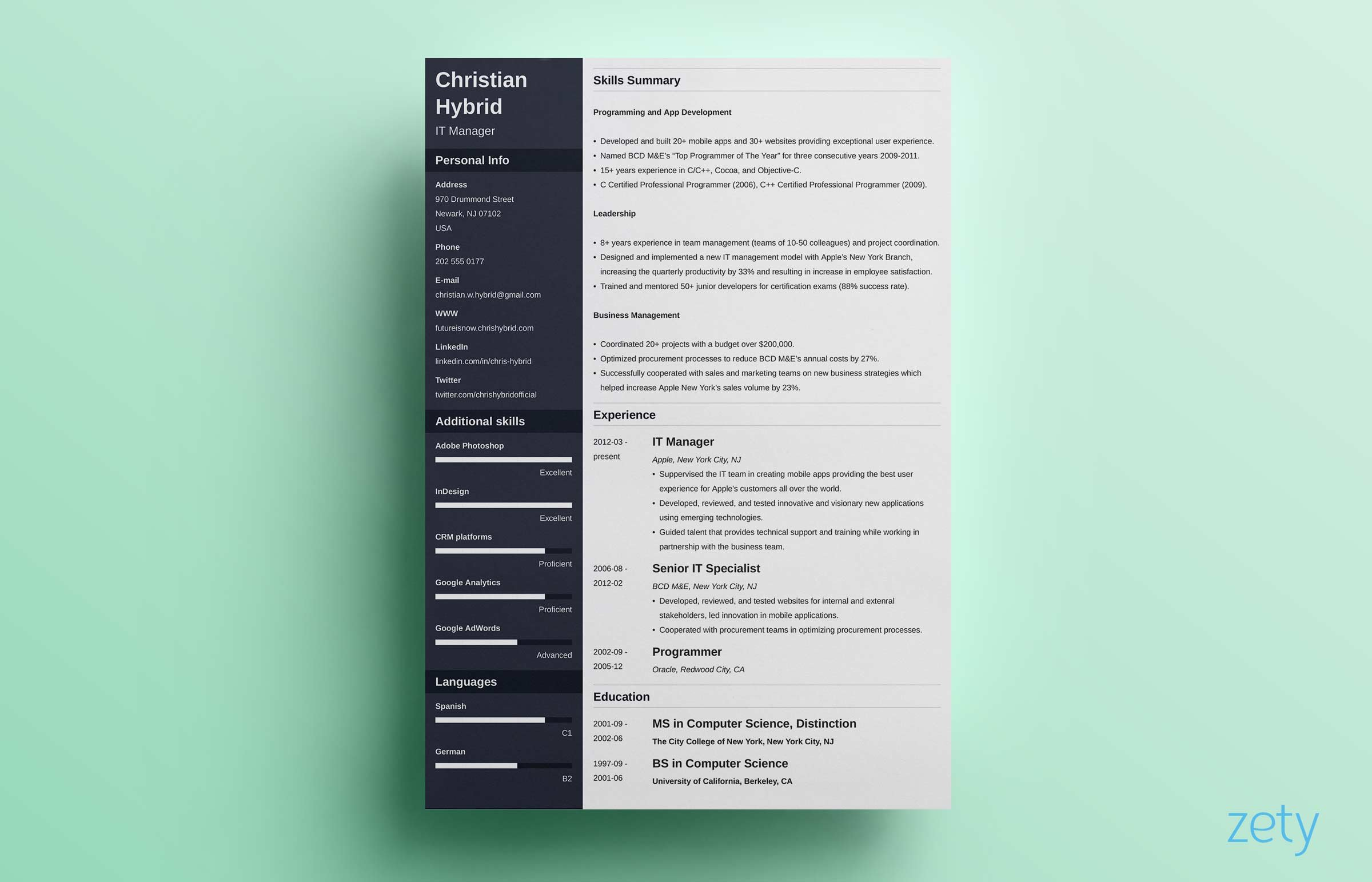 Template Creative Resume Template Two Page