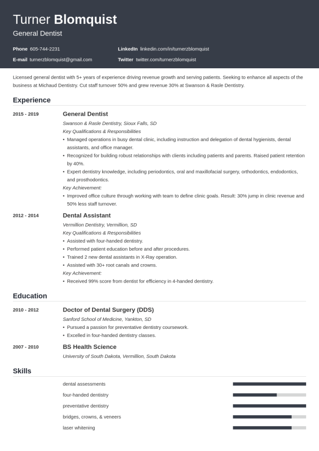 Dentist Resume Template (14+ Examples & Guide)
